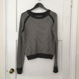 Lululemon grey and white striped knit devi sweater